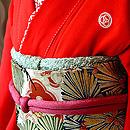牡丹松に丹頂鶴の図朱振袖