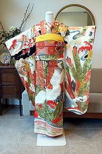松に鶴の図振袖