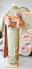 梅に橘風景古典文様錦紗振袖