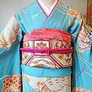 檜扇文様錦紗振袖