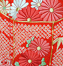 貝桶刺繍菊花文絞り振袖