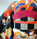 檜扇に御簾と雲取り文様刺繍振袖