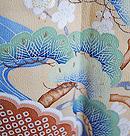 枝垂れ桜に花薬玉と檜扇文様振袖