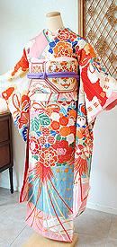 檜扇に花薬玉古典文様錦紗振袖