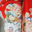 朱赤地檜扇に菊花ぼかし振袖