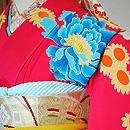 牡丹に菊散らしピンク色振袖