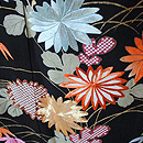 四季の花々几帳文様刺繍黒振袖