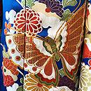 蝶々花文様青地振袖