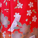 桜に短冊文様赤地振袖