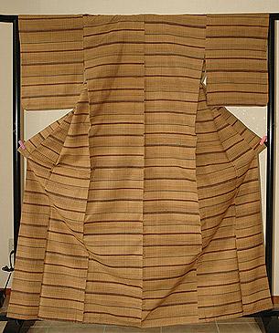 単衣横段紬