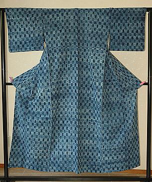 藍染片貝木綿単衣