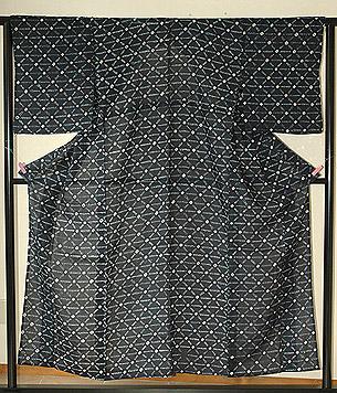 苧麻藍染め絞り夏衣