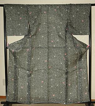 栗山吉三郎作苧麻紅型染単衣