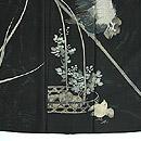 雄鶏にひよこ花籠文様絽縮緬黒留袖 上前