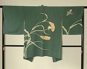粟の穂に雀染め羽織
