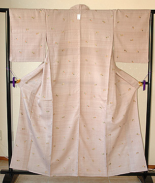 蝶柄刺繍紬単衣