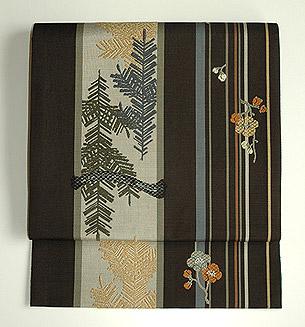 松に梅の図博多帯