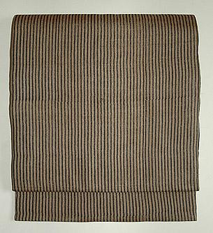 ウッドブロックプリント縞名古屋帯