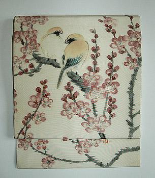 桜に文鳥染名古屋帯