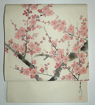 梅の図縮緬名古屋帯