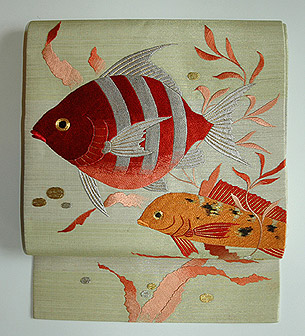 熱帯魚刺繍絽開き名古屋帯