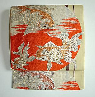 金魚柄紗開き名古屋帯