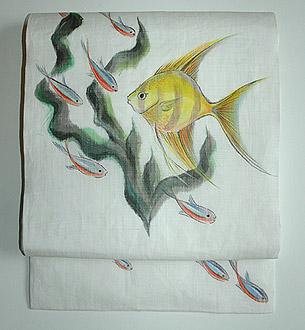熱帯魚柄麻名古屋帯