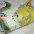 熱帯魚柄麻名古屋帯 質感・風合