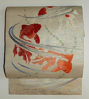 金魚柄刺繍名古屋帯