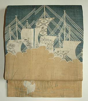 帆船に白鷺麻開き名古屋帯