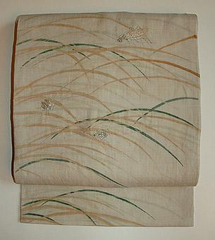 秋虫刺繍麻名古屋帯