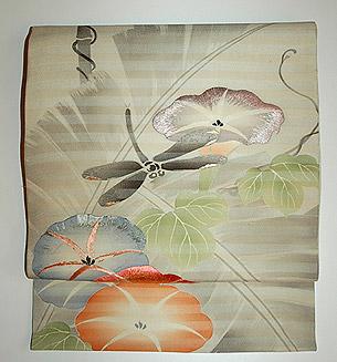 蜻蛉に朝顔刺繍名古屋帯