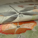蜻蛉に朝顔刺繍名古屋帯 質感・風合