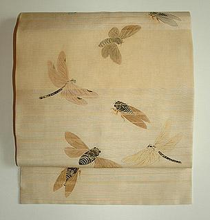 蜻蛉に蝉柄紗名古屋帯