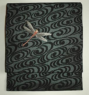 蜻蛉柄刺繍紗名古屋帯