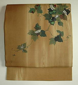 夏蔦に鈴虫刺繍絽名古屋帯
