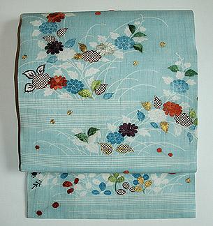 水浅葱地刺繍名古屋帯