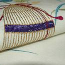 虫籠の図刺繍名古屋帯 質感・風合
