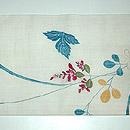 虫籠の図刺繍名古屋帯 前中心