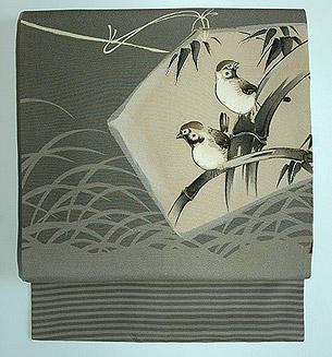 雀の図名古屋帯