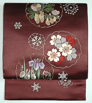 雪輪紋刺繍昼夜帯