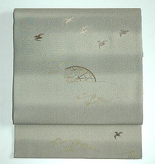 波千鳥刺繍帯