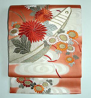 観世水に菊花舟刺繍名古屋帯