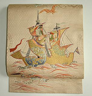 南蛮船刺繍丸帯