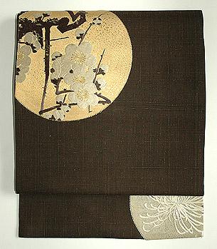 梅菊百合柄刺繍名古屋帯
