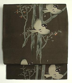 柿木に雀柄染名古屋帯