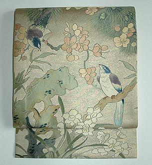 松梅に鳥の図開き名古屋帯