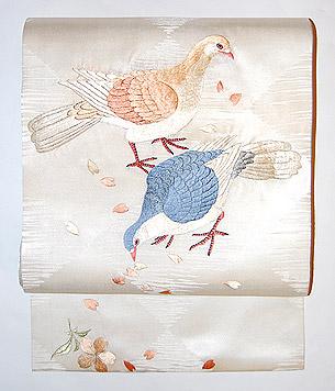 鳩と桜名古屋帯
