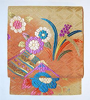 花と鳥染刺繍名古屋帯