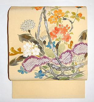 春草染刺繍名古屋帯